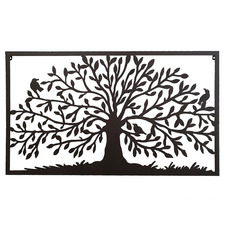 Rectangular Framed Tree Of Life Iron Wall Decor