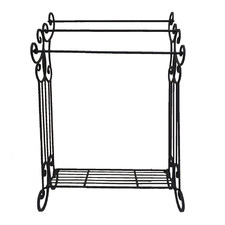 3 Rail Metal Towel Rack with Shelf
