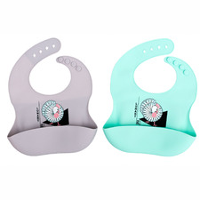 2 Piece Rooster Ultra Soft Silicone Bib Set