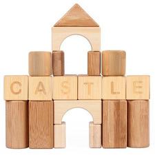 Udeas 80 Piece Bamboo Alphabet & Math Blocks Set