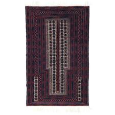 Vintage Style Kowdani Hand-Knotted Wool Balouchi Rug