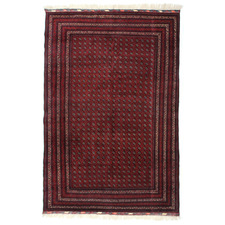 Red Khawaja Roshnai Hand-Knotted Wool Rug