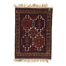 Vintage Mir Hand-Knotted Lambswool Baluch Rug