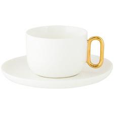 2 Piece Ivory Celine Luxe 200ml Teacup & Saucer Set