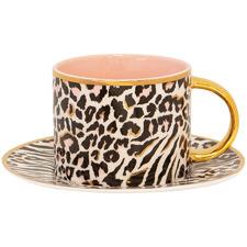 2 Piece Safari Leopard 280ml Teacup & Saucer Set