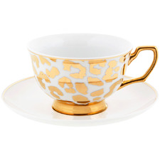 2 Piece Gold Louis Leopard 220ml Teacup & Saucer Set