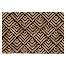 Black Geometric Coir Doormat