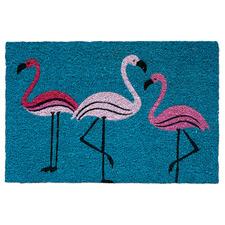 Turquoise 3 Flamingos Coir Doormat