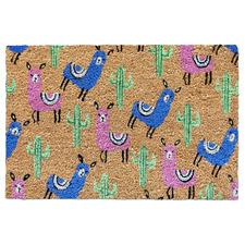 Llama & Cactus Coir Doormat