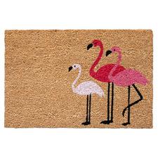 3 Pink Flamingos Coir Doormat