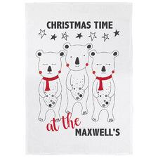 Christmas Bears Personalised Linen-Blend Teatowel