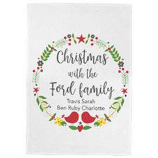 Christmas Wreath Personalised Linen-Blend Teatowel