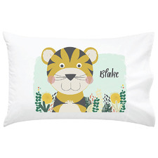 Kids' Tiger Personalised Cotton Pillowcase