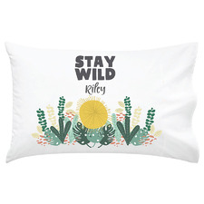 Kids' Stay Wild Personalised Cotton Pillowcase