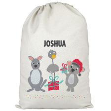 Kids' Aussie Animals Friends Personalised Canvas Santa Sack