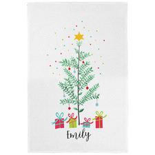 Eucalyptus Christmas Personalised Linen-Blend Teatowel