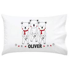Kids' Christmas Bears Personalised Cotton Pillowcase