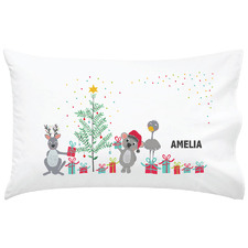 Kids' Aussie Animal Friends Christmas Personalised Cotton Pillowcase