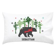 Kids' Mountain Bear Christmas Personalised Cotton Pillowcase