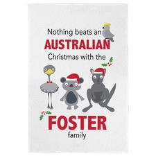 Australian Christmas Personalised Linen-Blend Teatowel