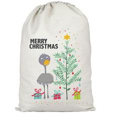 Kids' Christmas Emu Personalised Canvas Santa Sack