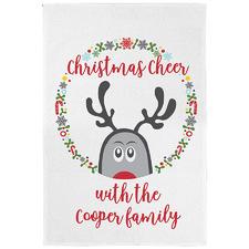 Christmas Cheer Personalised Linen-Blend Teatowel