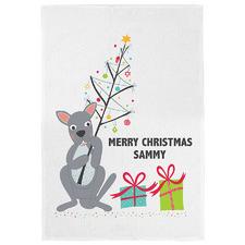 Kangaroo & His Christmas Personalised Linen-Blend Teatowel