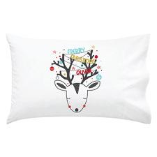 Kids' Reindeer Christmas Personalised Cotton Pillowcase