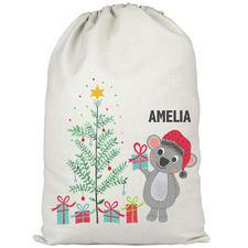Kids' Christmas Koala Personalised Canvas Santa Sack