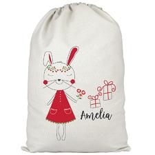 Kids' Christmas Bunny Personalised Canvas Santa Sack