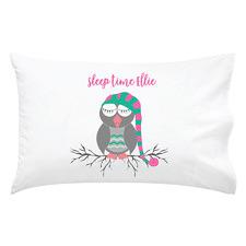 Kids' Pink & Green Sleepy Time Owl Personalised Cotton Pillowcase