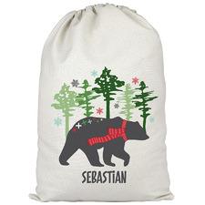 Kids' Mountain Bear Christmas Personalised Canvas Santa Sack