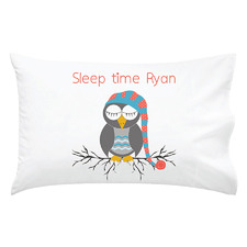 Kids' Red & Blue Sleepy Time Owl Personalised Cotton Pillowcase