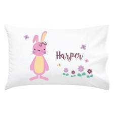 Kids' Pink Bunny Personalised Cotton Pillowcase