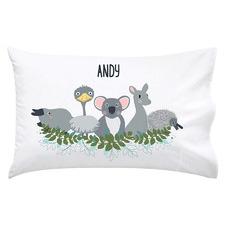 Kids' Blue Australian Animals Personalised Cotton Pillowcase
