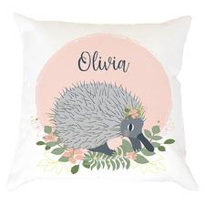 Kids' Peach Echidna Personalised Cotton Cushion