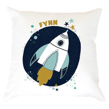 Kids' Space Rocket Personalised Cotton Cushion