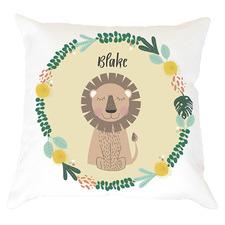 Kids' Lion Personalised Cotton Cushion