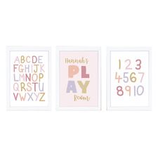 Kids' Blush Play Personalised Unframed Paper Print Triptych