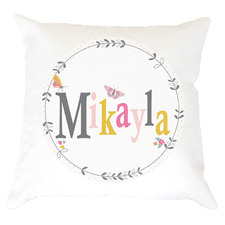 Kids' Butterfly Floral Personalised Cotton Cushion