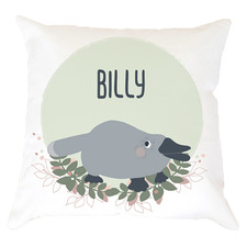 Kids' Green Platypus Personalised Cotton Cushion