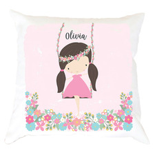 Kids' Girl On A Swing Personalised Cotton Cushion
