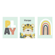 Kids' Tiger Playroom Personalised Unframed Paper Print Triptych