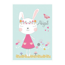Kids' Boho Garden Bunny Personalised Unframed Paper Print