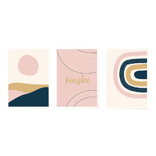 Kids' Navy & Pink Sunset Personalised Unframed Paper Print Triptych