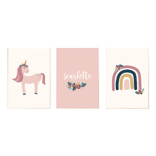 Kids' Floral, Rainbow & Unicorn Personalised Unframed Paper Print Triptych