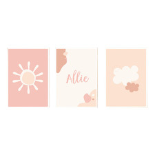 Kids' Earthy Sky Personalised Unframed Paper Print Triptych