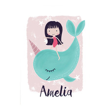 Kids' Unicorn Whale Personalised Unframed Paper Print