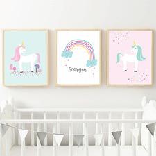 Kids' Rainbow & Unicorns Personalised Unframed Paper Print Triptych