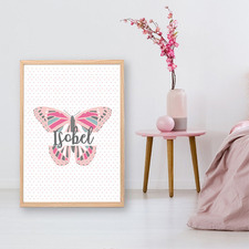 Kids' Butterfly Personalised Unframed Paper Print
